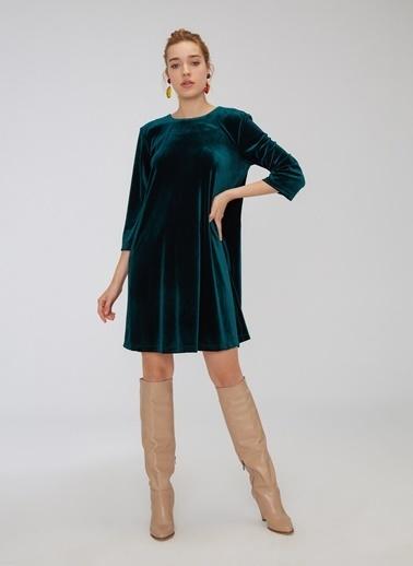 People By Fabrika Kadife Bol Kesim Elbise Yeşil